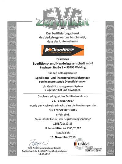 Urkunde Zertifizierung nach Din EN ISO 9001:2015