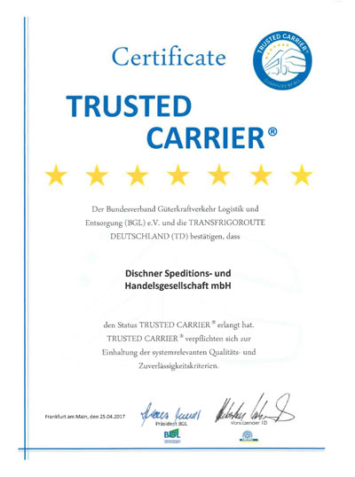 Urkunde Trusted Carrier Zertifikat