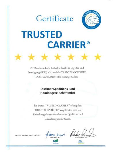 Urkunde Trusted Carrier Zertifikat